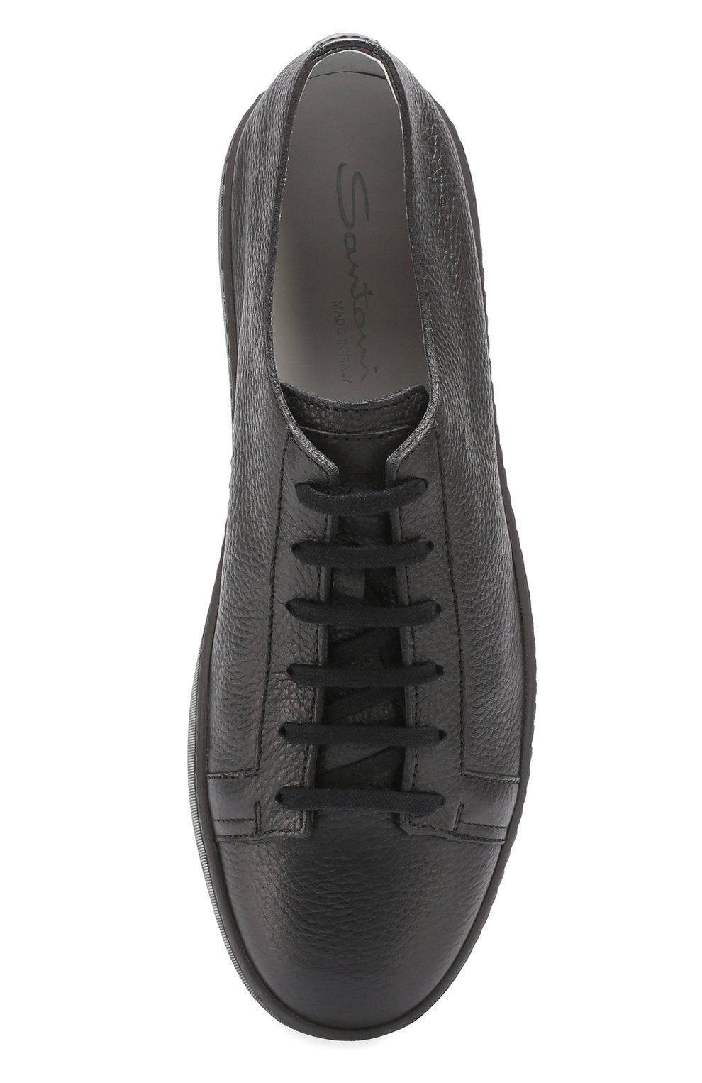 Кожаные кеды на шнуровке Santoni черные   Фото №5