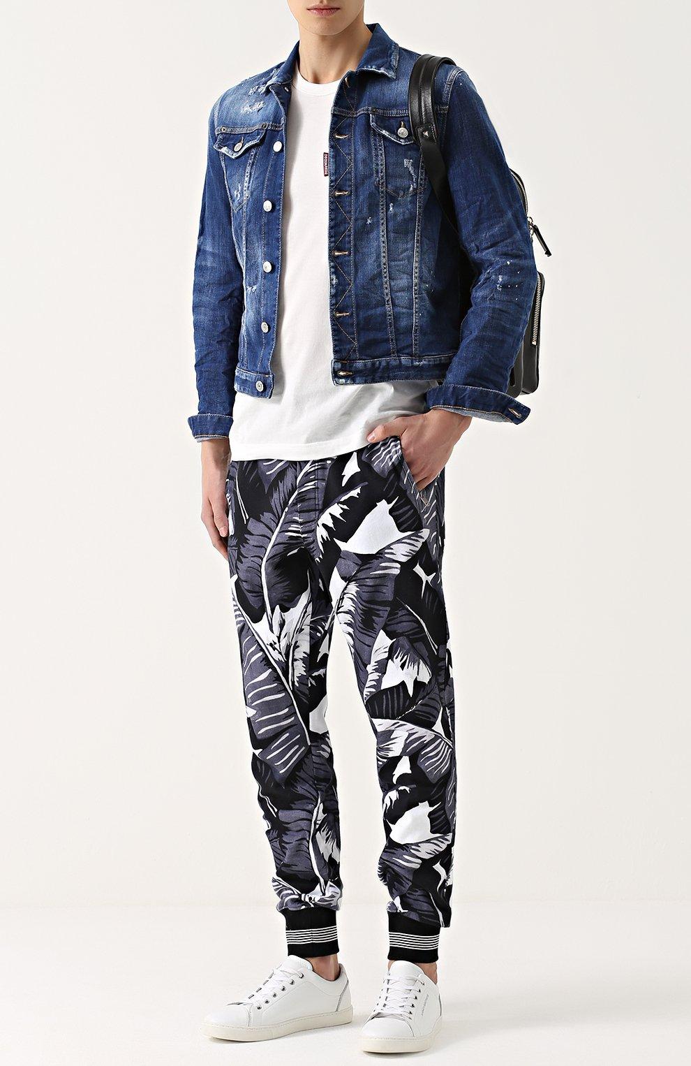 Хлопковые джоггеры с принтом Dolce & Gabbana серые | Фото №2