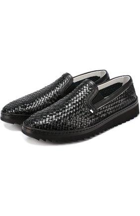 Слипоны Mondello из плетеной кожи Dolce & Gabbana черные | Фото №1