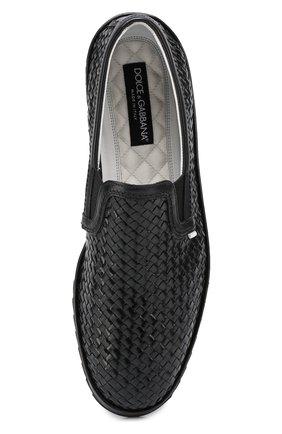 Слипоны Mondello из плетеной кожи Dolce & Gabbana черные | Фото №5