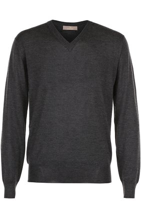 Мужской пуловер тонкой вязки из смеси кашемира и шелка CRUCIANI серого цвета, арт. CU2031 | Фото 1