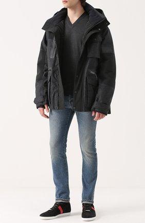 Мужской пуловер тонкой вязки из смеси кашемира и шелка CRUCIANI серого цвета, арт. CU2031 | Фото 2