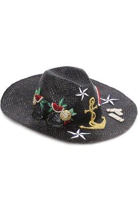 Соломенная шляпа с декоративной отделкой Dolce & Gabbana черного цвета   Фото №1