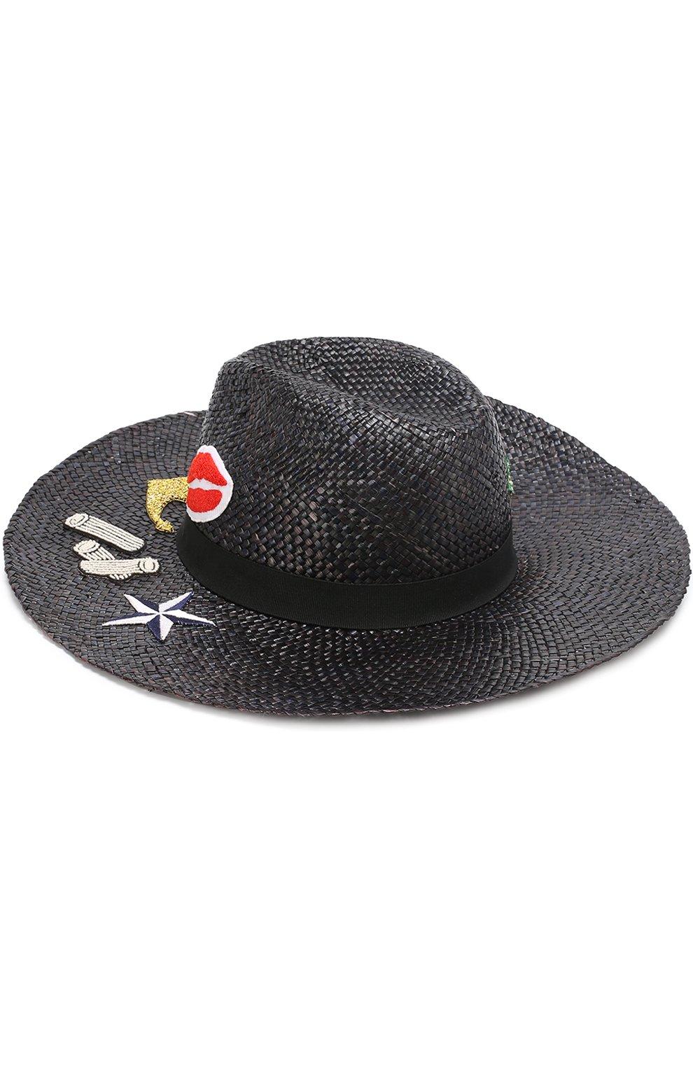 Соломенная шляпа с декоративной отделкой Dolce & Gabbana черного цвета   Фото №2