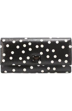 Кожаный кошелек с принтом Dolce & Gabbana черно-белого цвета | Фото №1