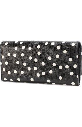 Кожаный кошелек с принтом Dolce & Gabbana черно-белого цвета | Фото №2