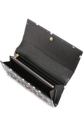 Кожаный кошелек с принтом Dolce & Gabbana черно-белого цвета | Фото №3