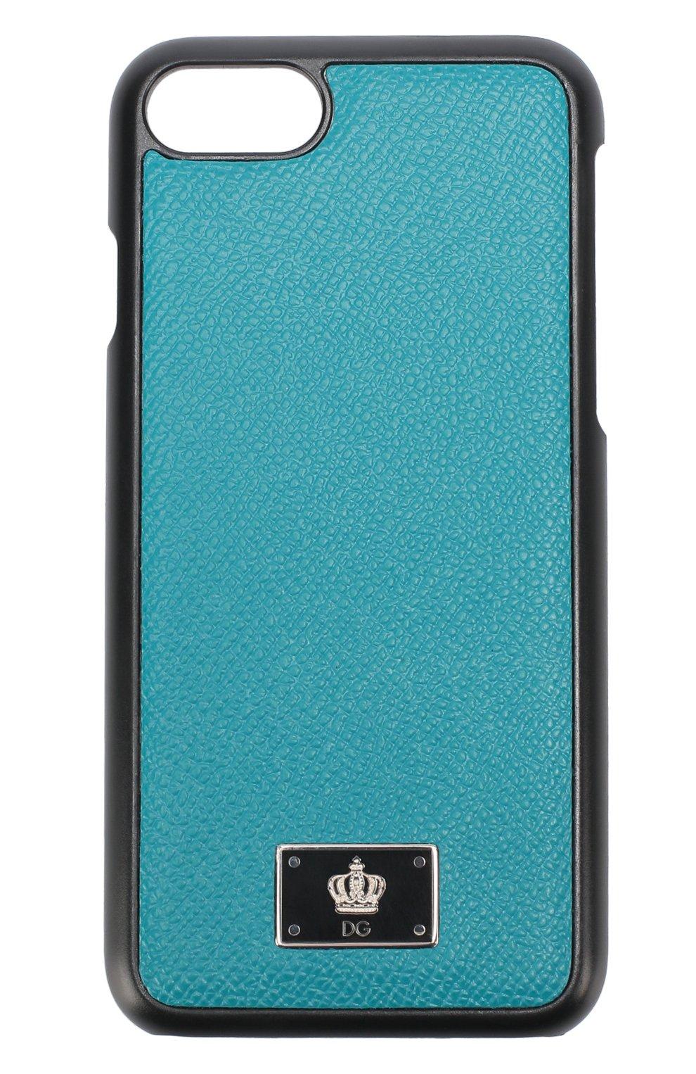 Мужской кожаный чехол для iphone 7 DOLCE & GABBANA бирюзового цвета, арт. 0115/BP2235/AC967 | Фото 1