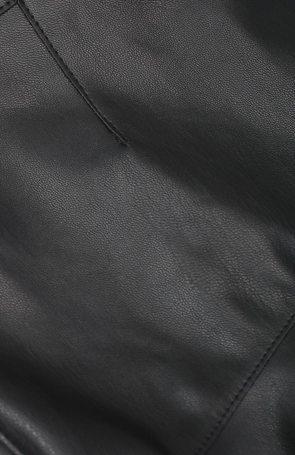 Юбка из эко-кожи с оборкой | Фото №3