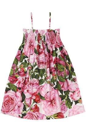 Платье из хлопка с цветочным принтом Dolce & Gabbana белого цвета | Фото №1
