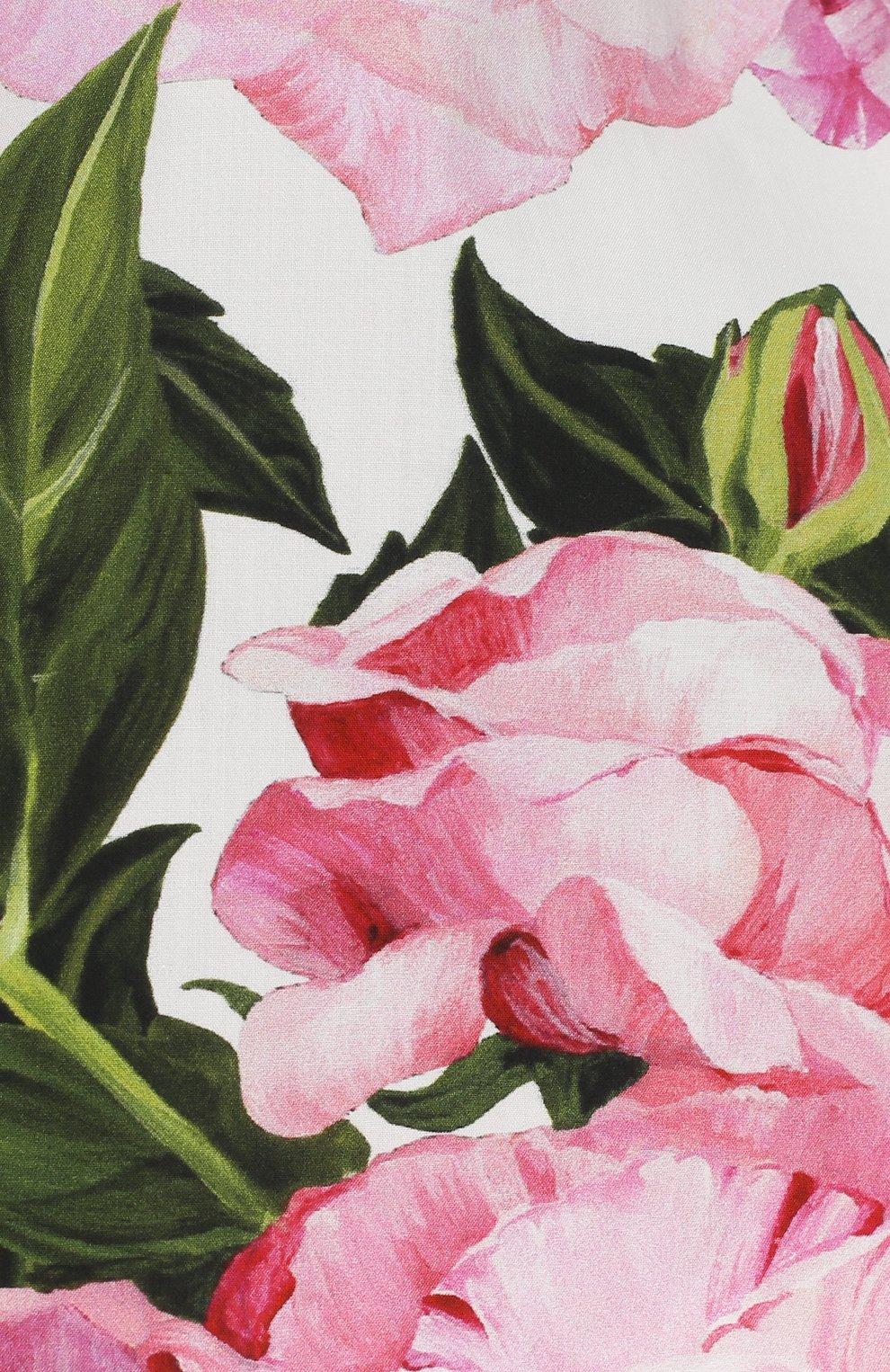 Платье из хлопка с цветочным принтом Dolce & Gabbana белого цвета | Фото №2