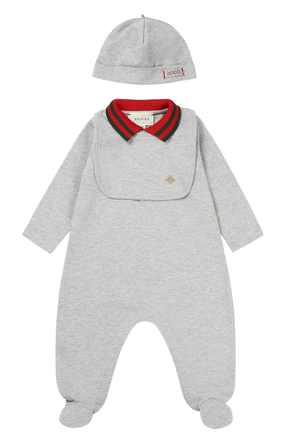 Детский комбинезон с шапкой и нагрудником GUCCI серого цвета, арт. 463438/X5Q23 | Фото 1