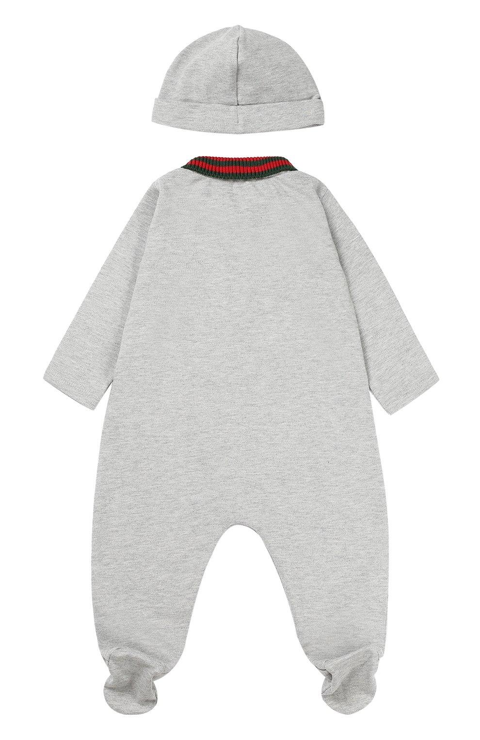 Детский комбинезон с шапкой и нагрудником GUCCI серого цвета, арт. 463438/X5Q23 | Фото 2