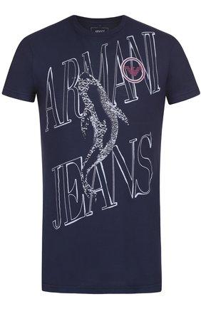 Хлопковая футболка с контрастным принтом Armani Jeans темно-синяя | Фото №1