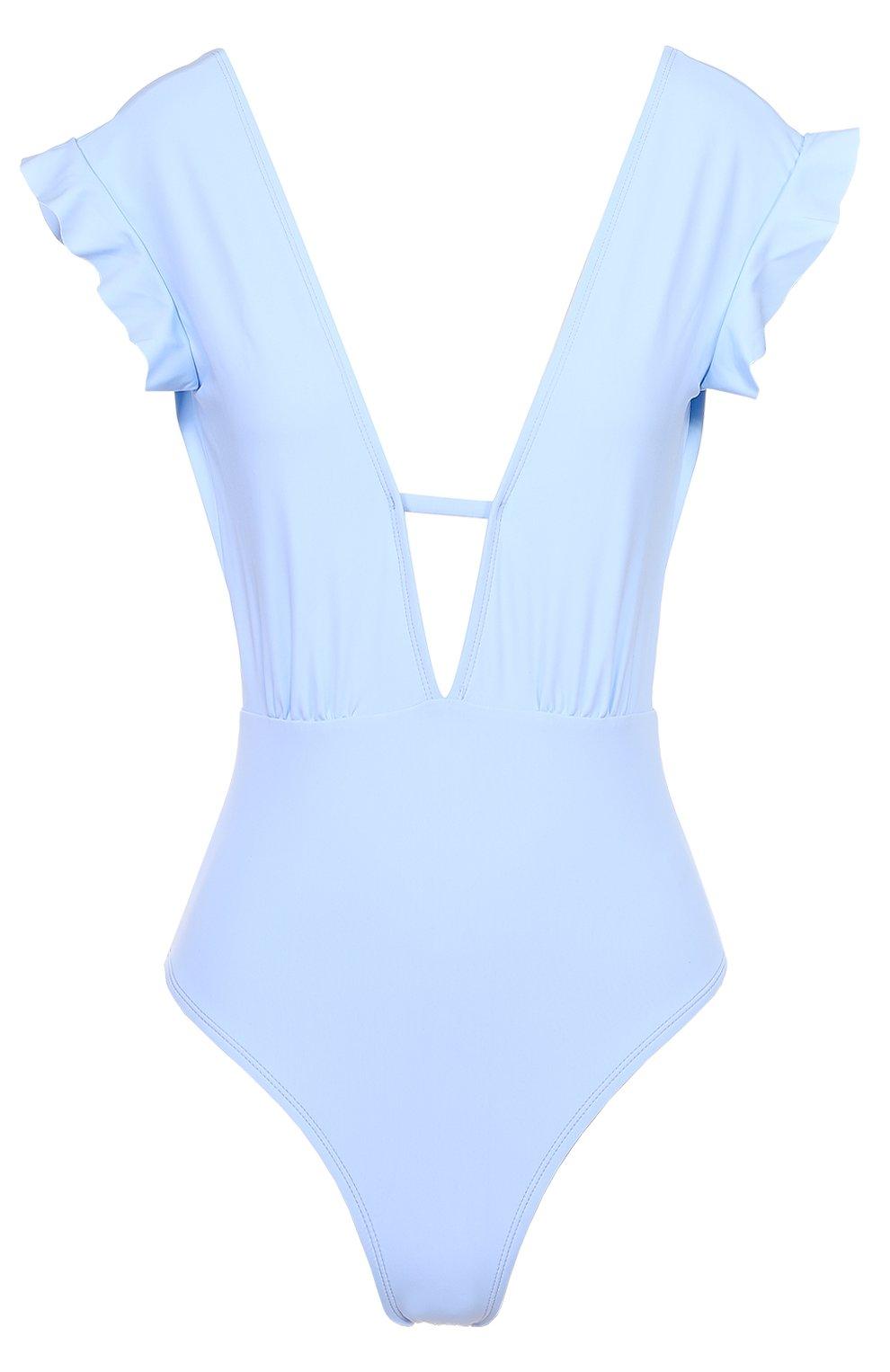 Женский слитный купальник с оборками и открытой спиной BETH RICHARDS голубого цвета, арт. BR16112 | Фото 1