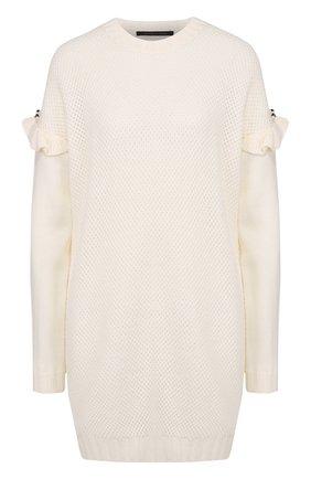 Удлиненный пуловер фактурной вязки с оборками Mother Of Pearl белый | Фото №1
