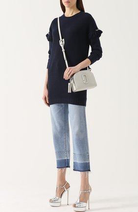 Удлиненный пуловер фактурной вязки с оборками Mother Of Pearl темно-синий | Фото №1