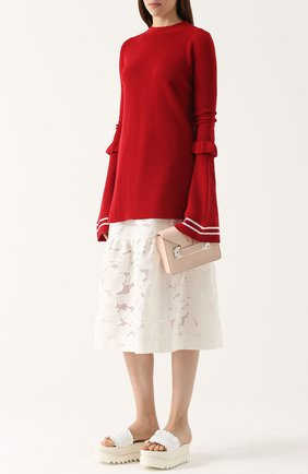 Пуловер прямого кроя с удлиненными расклешенными рукавами Mother Of Pearl красный | Фото №1