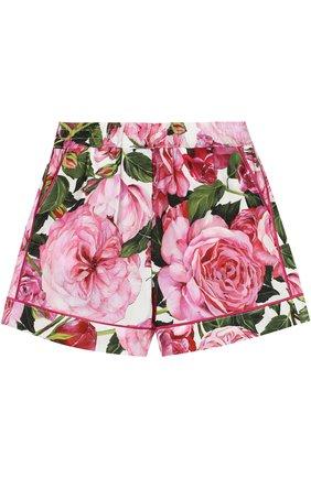 Шорты из хлопка с цветочным принтом Dolce & Gabbana белого цвета   Фото №1