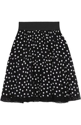 Шелковая мини-юбка в горох Dolce & Gabbana черно-белая | Фото №1