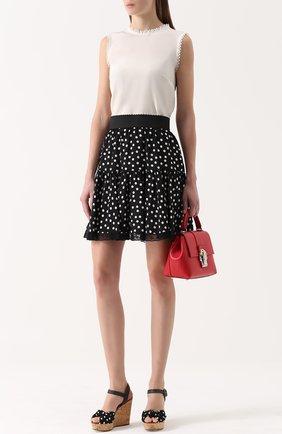 Шелковая мини-юбка в горох Dolce & Gabbana черно-белая | Фото №2