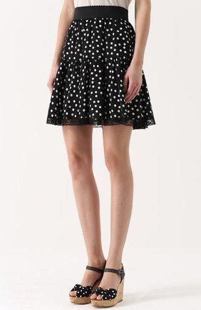 Шелковая мини-юбка в горох Dolce & Gabbana черно-белая | Фото №3