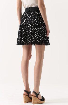 Шелковая мини-юбка в горох Dolce & Gabbana черно-белая | Фото №4