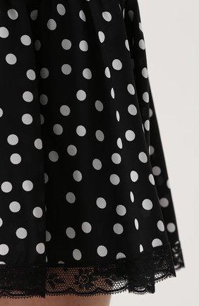 Шелковая мини-юбка в горох Dolce & Gabbana черно-белая | Фото №5