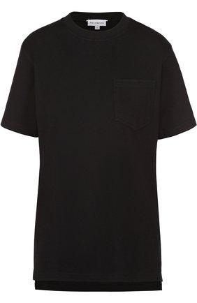 Хлопковая футболка прямого кроя с накладным карманом   Фото №1