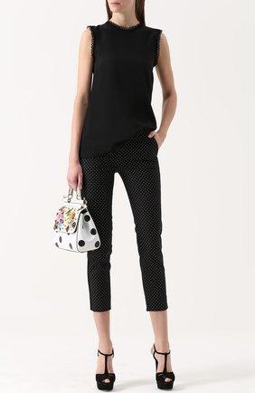 Шелковый топ прямого кроя с кружевной отделкой Dolce & Gabbana черный | Фото №2