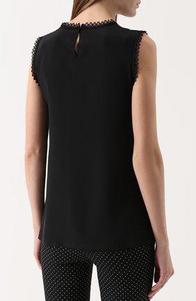 Шелковый топ прямого кроя с кружевной отделкой Dolce & Gabbana черный | Фото №4