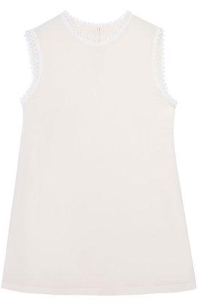Шелковый топ прямого кроя с кружевной отделкой Dolce & Gabbana белый | Фото №1