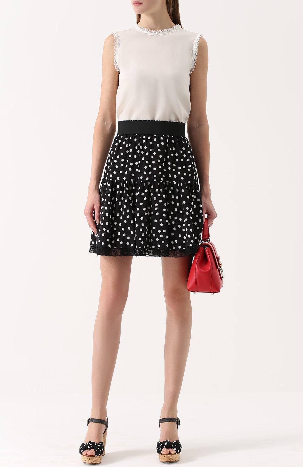 Шелковый топ прямого кроя с кружевной отделкой Dolce & Gabbana белый | Фото №2