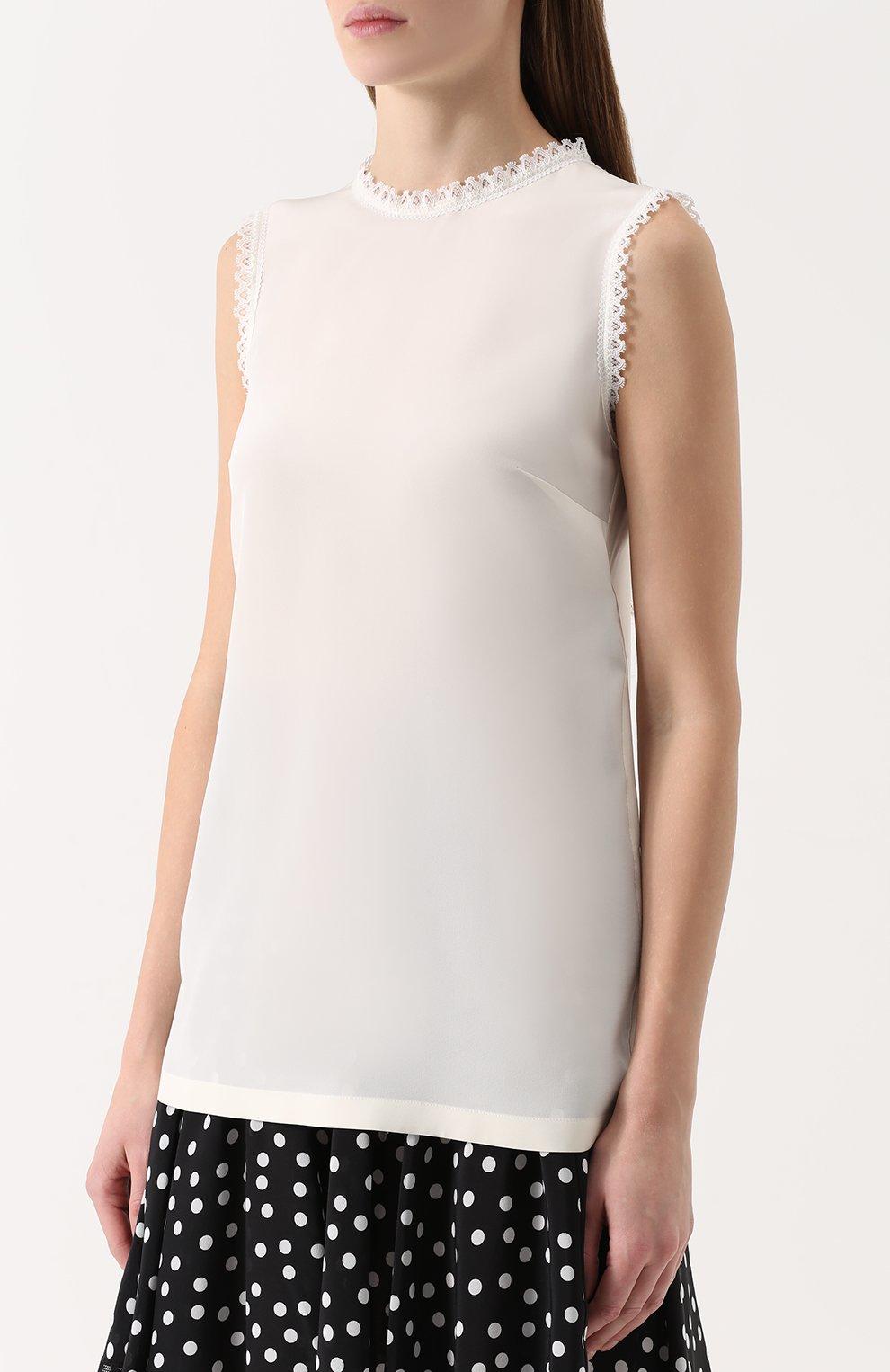 Шелковый топ прямого кроя с кружевной отделкой Dolce & Gabbana белый | Фото №3