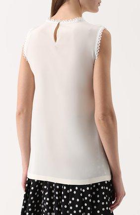 Шелковый топ прямого кроя с кружевной отделкой Dolce & Gabbana белый | Фото №4