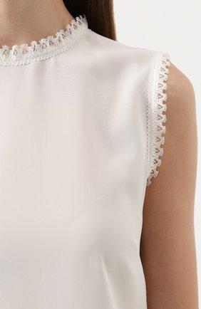 Шелковый топ прямого кроя с кружевной отделкой Dolce & Gabbana белый | Фото №5