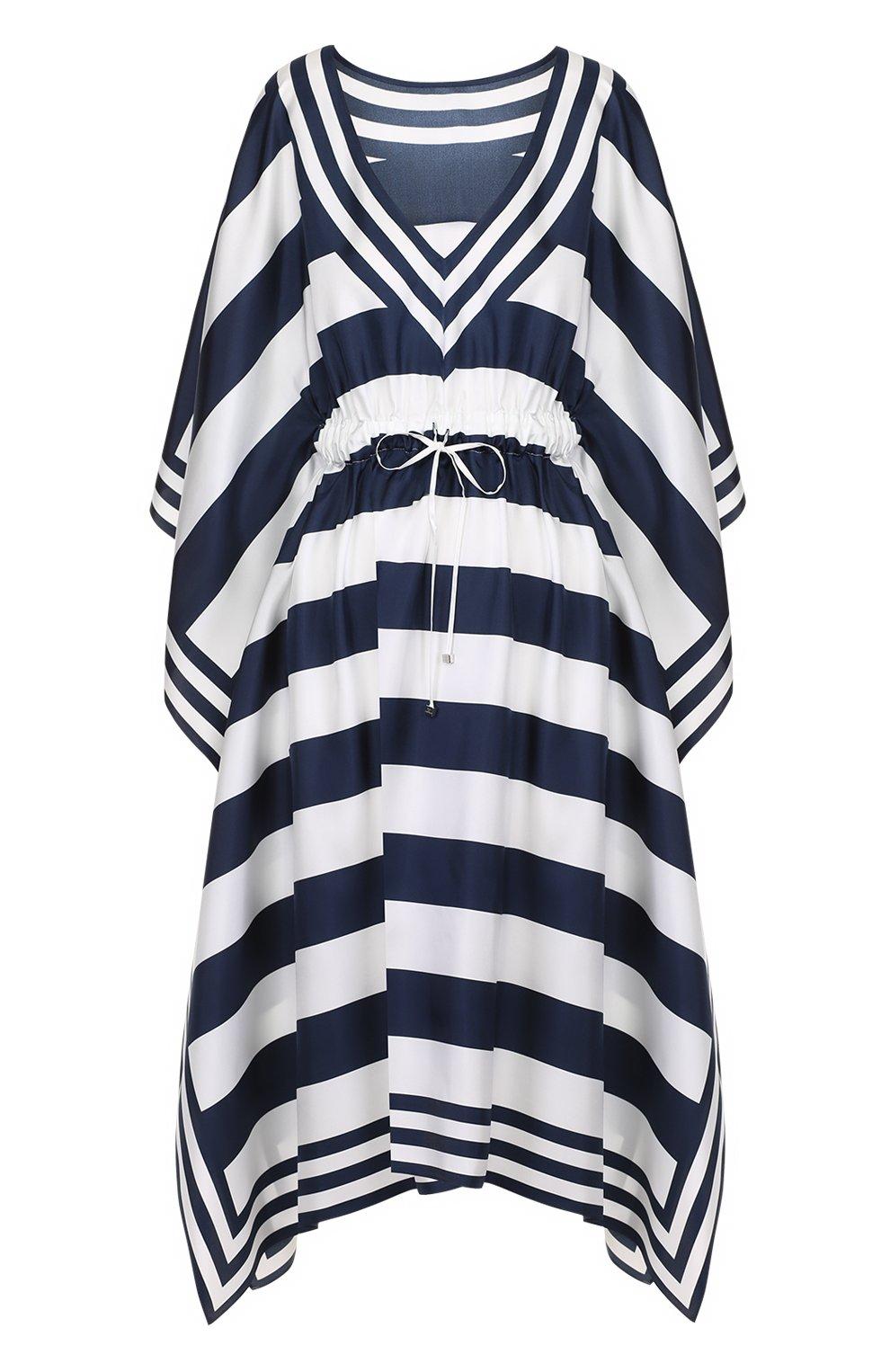 Шелковое платье в контрастную полоску с V-образным вырезом | Фото №1