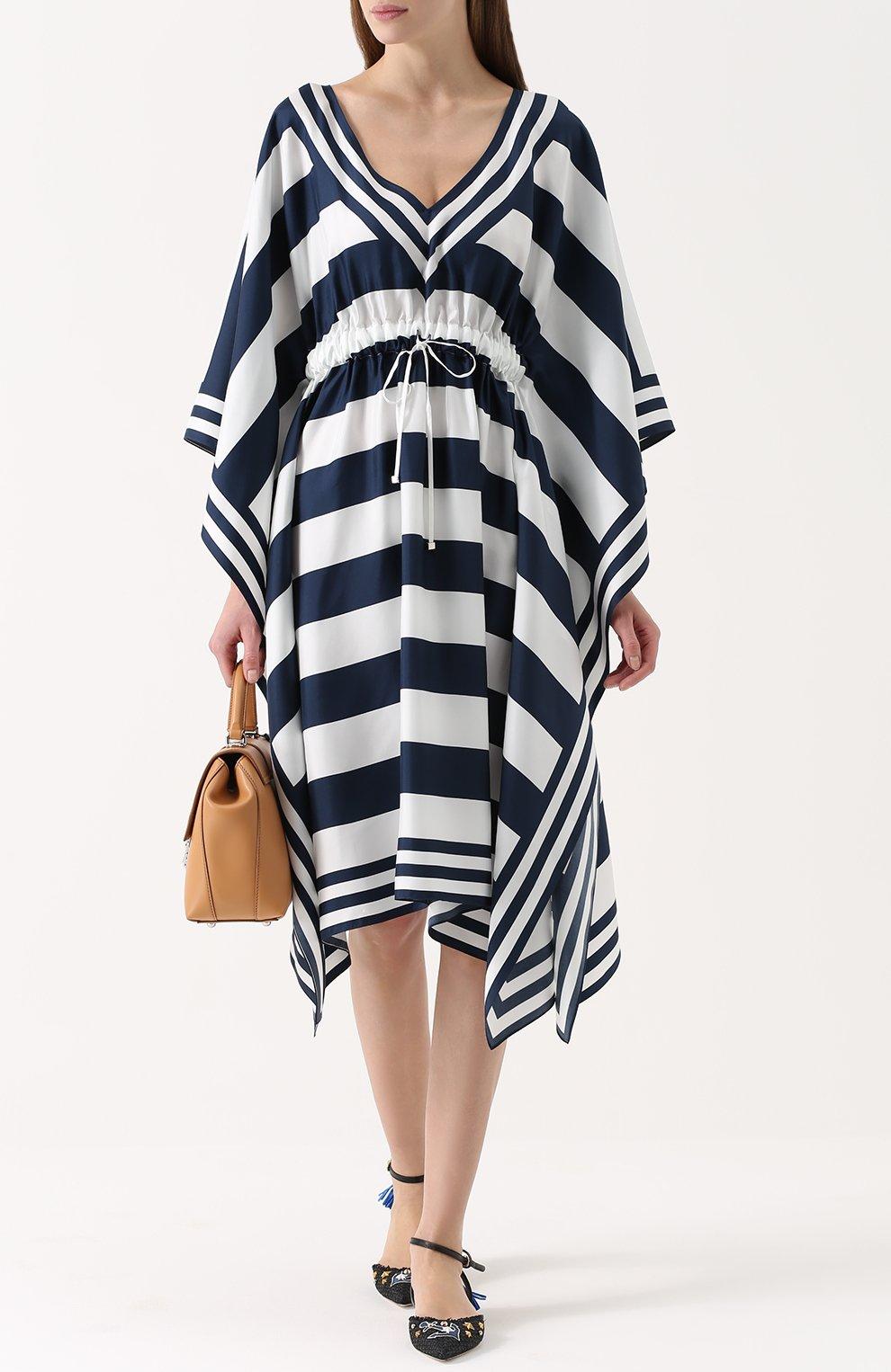 Шелковое платье в контрастную полоску с V-образным вырезом | Фото №2