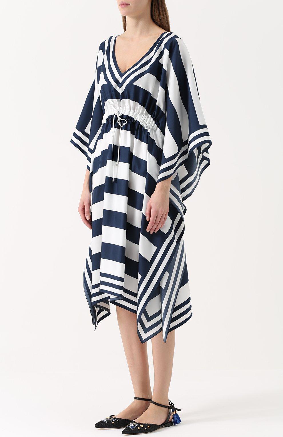 Шелковое платье в контрастную полоску с V-образным вырезом | Фото №3