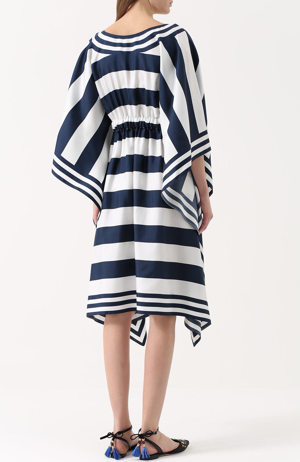 Шелковое платье в контрастную полоску с V-образным вырезом | Фото №4