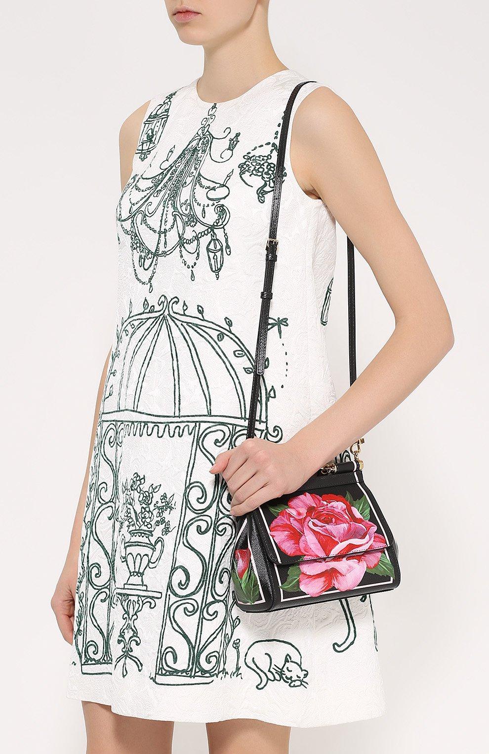 Сумка Sicily small с принтом Dolce & Gabbana розовая цвета | Фото №5
