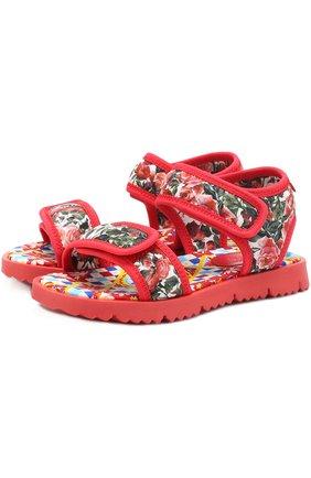 Детские текстильные сандалии с принтом Dolce & Gabbana разноцветного цвета | Фото №1