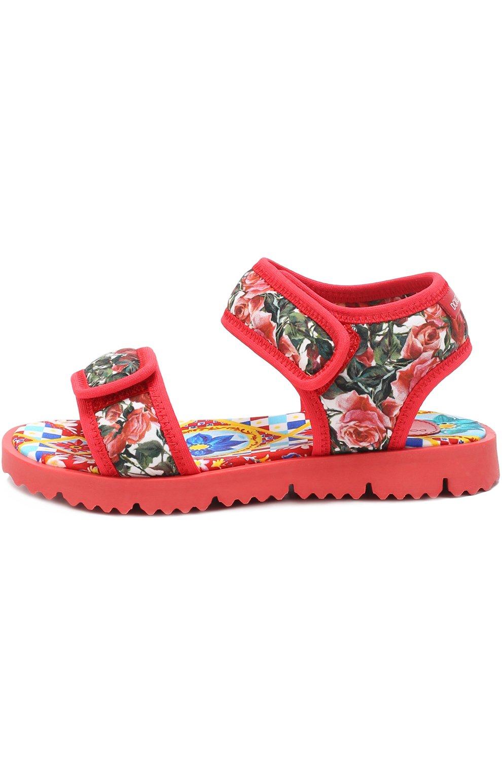 Детские текстильные сандалии с принтом Dolce & Gabbana разноцветного цвета | Фото №2