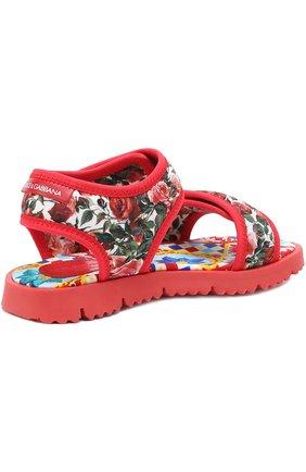 Детские текстильные сандалии с принтом Dolce & Gabbana разноцветного цвета | Фото №3