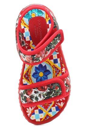 Детские текстильные сандалии с принтом Dolce & Gabbana разноцветного цвета | Фото №4