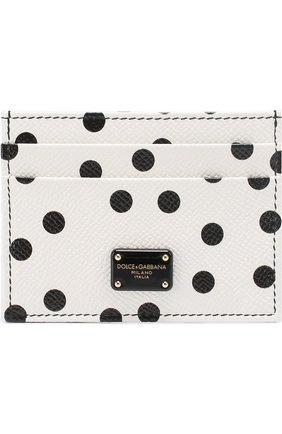 Кожаный футляр для кредитных карт с принтом Dolce & Gabbana черно-белого цвета | Фото №1
