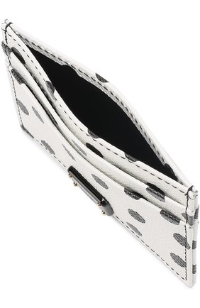 Кожаный футляр для кредитных карт с принтом Dolce & Gabbana черно-белого цвета | Фото №3