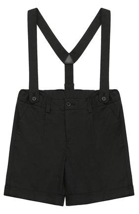 Шорты из хлопка с подтяжками Dolce & Gabbana черного цвета | Фото №1