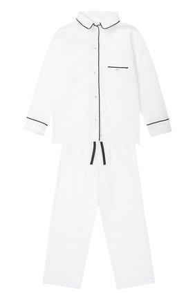 Детская пижама из хлопка с контрастной отделкой LA PERLA белого цвета, арт. 51641/2-6 | Фото 1
