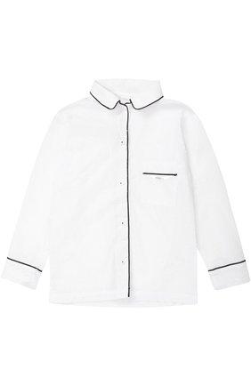 Детская пижама из хлопка с контрастной отделкой LA PERLA белого цвета, арт. 51641/2-6 | Фото 2